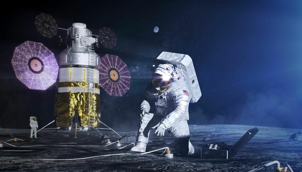 En kunstners framstilling av amerikanske astronauter på månen, med den nye xEMU-romdrakten.