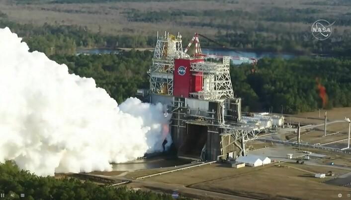 Her testes rakettmotorene i januar, 2021. Testen måtte avbrytes mye tidligere enn planlagt.