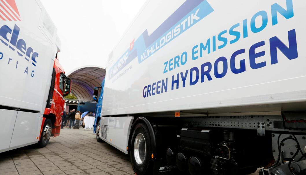 Den nye hydrogen-lastebilen til Hyundai ble presentert i Sveits i oktober 2020.