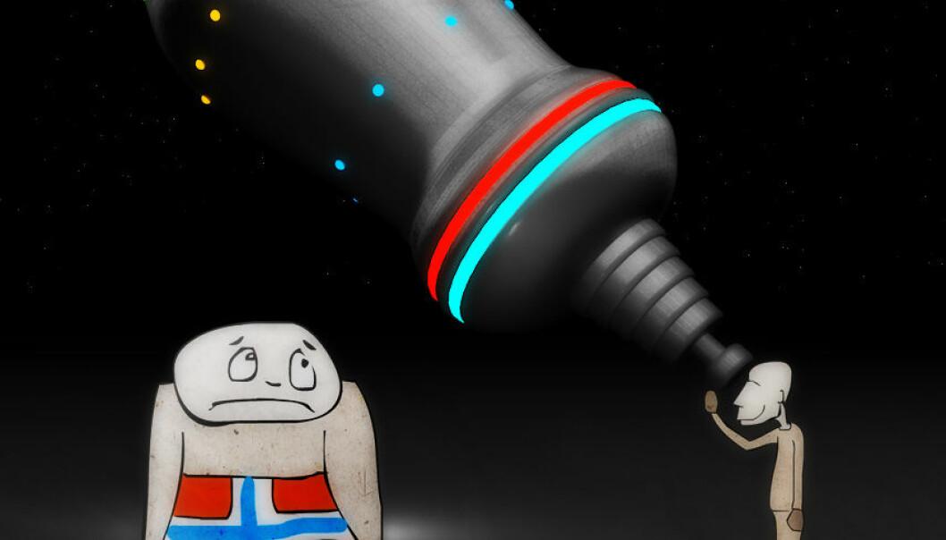 Norge satser lite på astronomi, sammenlignet med våre naboland. (Illustrasjon: Per Byhring)