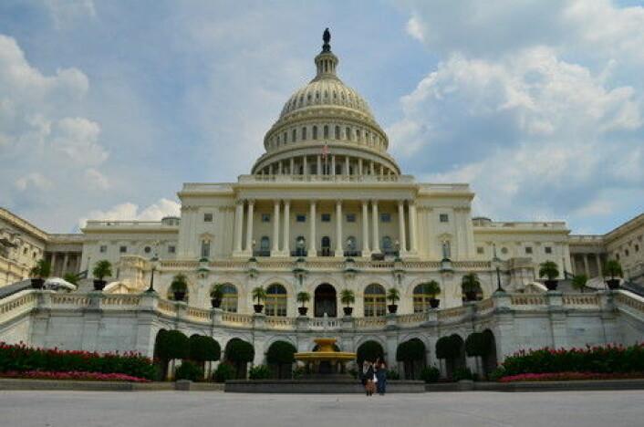 Capitol of the United States huser den lovgivende makten i USA, og den er et bilde på dyrkingen av den klassiske hvite marmoren. (Foto: Colourbox)