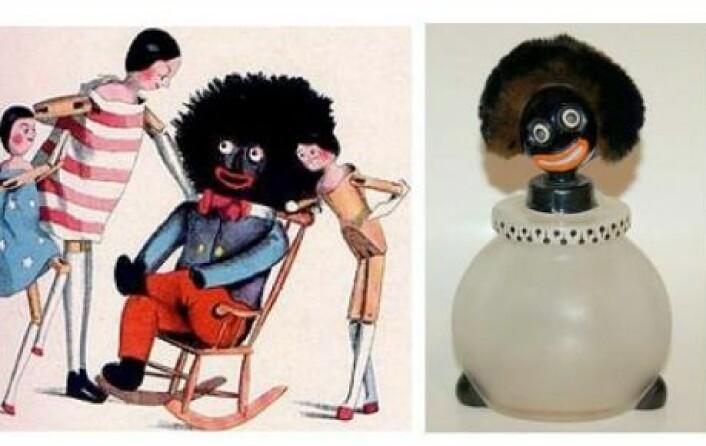 """Til venstre, barnebokforfatter Florence Kate Uptons """"Golliwog"""", bildet ved siden av viser en parfymeflaske fra 1920-tallet. (Foto: (Illustrasjon: Golliwog))"""