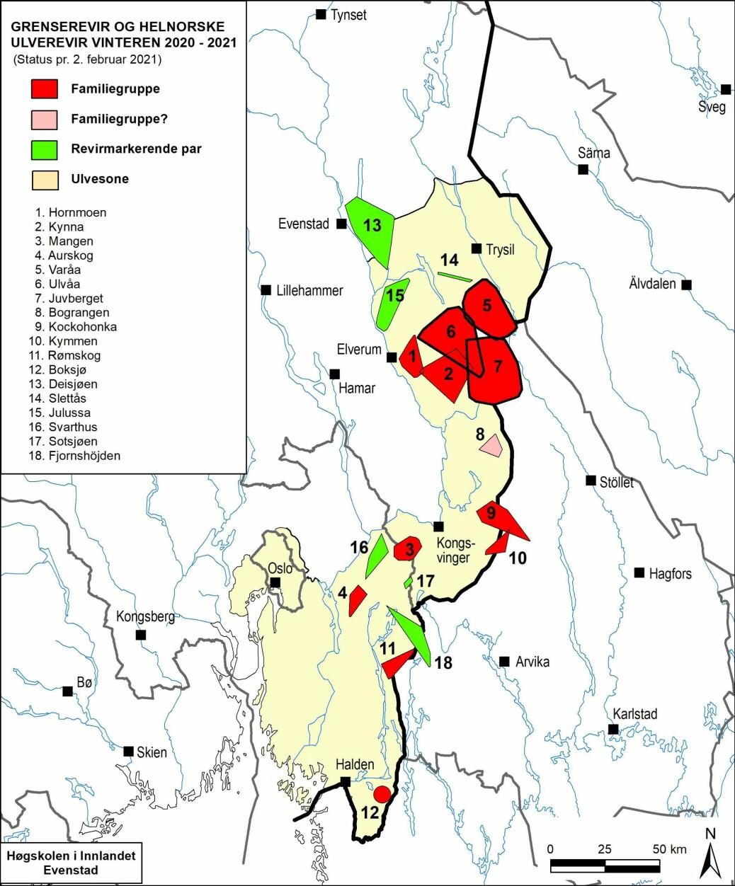 Utbredelse av helnorske og svensk-norske ulverevir som foreløpig er kartlagt per 2. februar vinteren 2020–2021. De oppgitte revirgrenser er minimumsgrenser. Sirkel angir revir med utilstrekkelig informasjon om revirgrenser.
