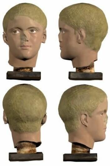 3D-modell som viser hvordan skulpturen kommer til å se ut. Modellen er laget av Chelsea A. Graham, som er en del av forskningsprosjektet med de fargede skulpturene. (Foto: Ny Carlsberg Glyptotek)