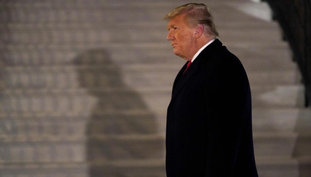 Daværende president Donald Trump utenfor Det hvite hus 12. januar, en uke etter at Trump-tilhengere stormet Kongressen.
