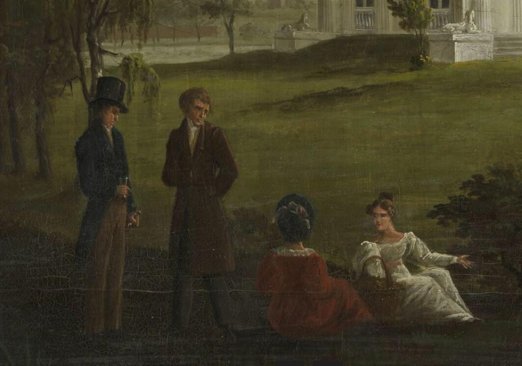 Var det like mye glamour og selskapeligheter i Norge som i London på begynnelsen av 1800-tallet? Malerier, klær og tekster fra denne tiden, tyder på det. Her er noen medlemmer av den norske eliten portrettert på Ullevål i Christiania - datiden Oslo - på 1810-tallet.