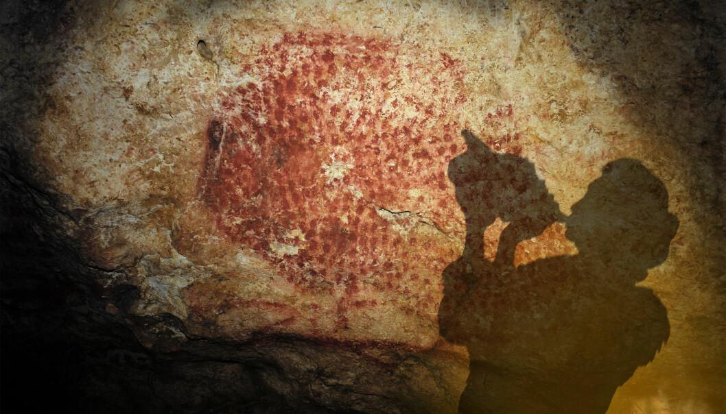 I Marsoulas-hulen finnes det eldgamle malerier på veggene. Slik ser en kunstner for seg skyggen av et steinaldermenneske som spiller på det 17 000 år gamle instrumentet.