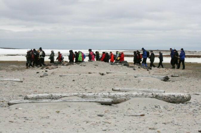 Turister besøker restene etter den hollandske hvalfangststasjonen i Smeerenburg nordvest på Spitsbergen, Svalbard.