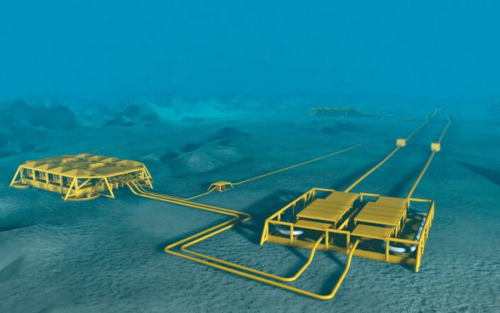 Ormen Lange-gassen hentes opp av brønnhoder på bunnen. Men om virkningen på havoverflaten er null, så er til gjengjeld virkningen på land mye større enn ventet. (Foto: (Illustrasjon: Statoil))