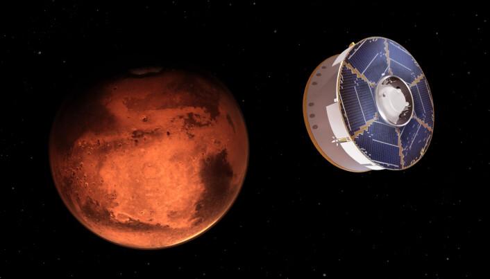 Illustrasjonen viser Mars 2020 romfartøyet nærme seg den røde planeten, med roveren Perseverance om bord.