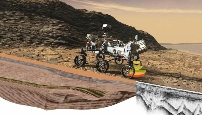 Illustrasjon av Rimfax i arbeid på Perseveramce-roveren.