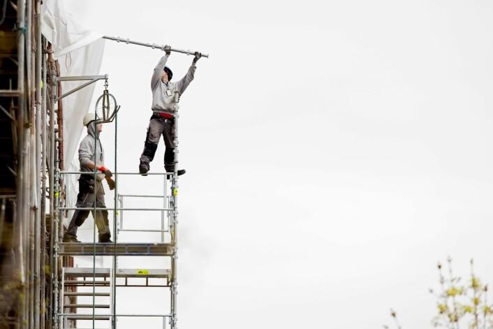 27 prosent av lærlingar i bygg og anlegg har vore i ulukker med skadar. (Foto: NTB scanpix/Tore Meek)