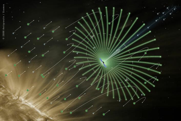 Det elektriske solseilet bruker ikke lyset, men de elektrisk ladede elektronene i solvinden som drivkraft. E-seilet ble oppfunnet av den finske forskeren Pekka Janhunen i 2006, og skal neste år for første gang prøves ut i rommet. (Foto: (Illustrasjon: Alexandre Szames, Antigravite, Paris))