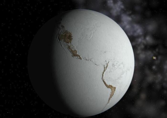 Illustrasjon av snøballjorden. Kontinentene på dette bildet er plassert som i dag, men for over 600 millioner år siden så det helt annerledes ut.