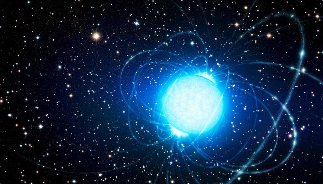 Magnetaren i Westerlund 1, slik en kunstner ser det for seg. (Bilde: ESO/L. Calçada)
