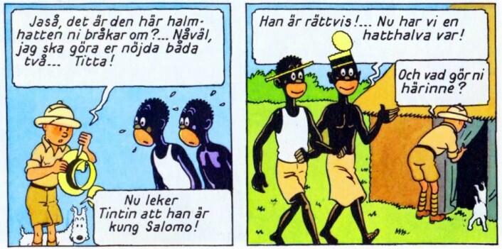 Hergé brøt med sin ellers korrekte stil for å tegne svarte afrikanere stereotypt, ifølge proefssor Joanna Rubin Dranger. (Fra Tintin i Congo av Georges Prosper Remi (1907-1983). (Foto: (Illustrasjon: HergéMoulinsart))