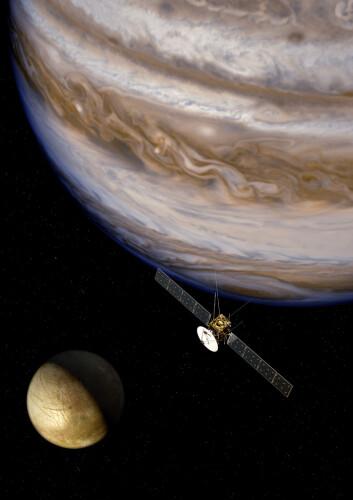JUICE, Jupiter Icy Moons Explorer, er ESAs planlagte romsonde til Jupiter-systemet. (Foto: ESA)