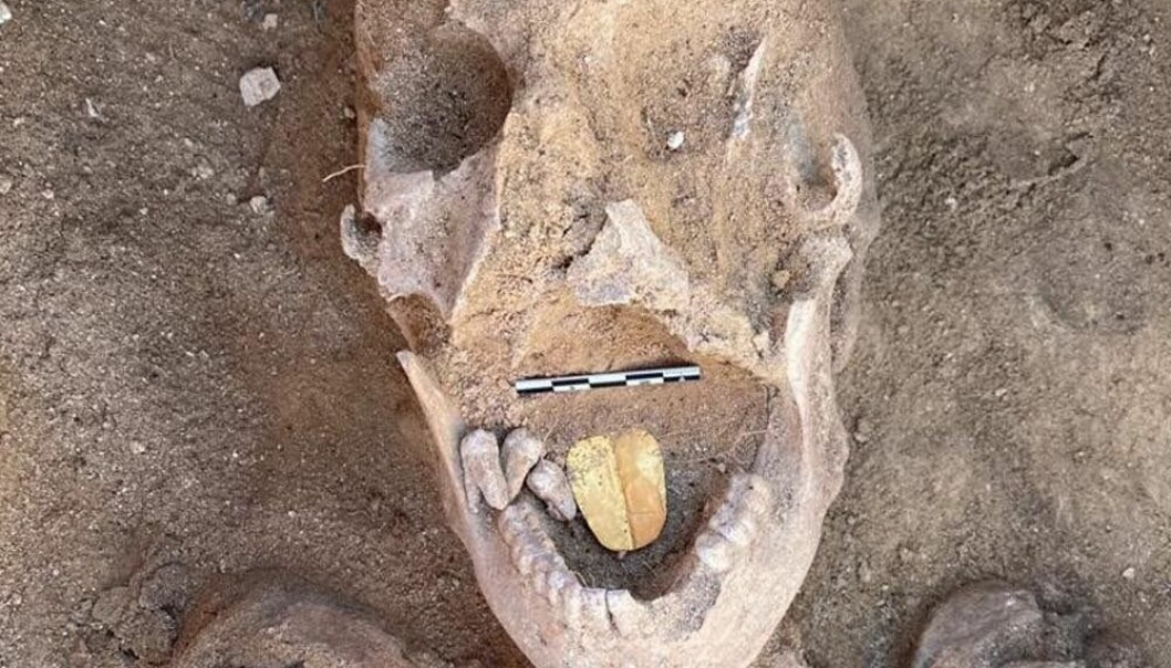 De som begravde dette mennesket for 2000 år siden, trodde kanskje at gulltunga skulle hjelpe personen til å snakke med guden Osiris etter døden.