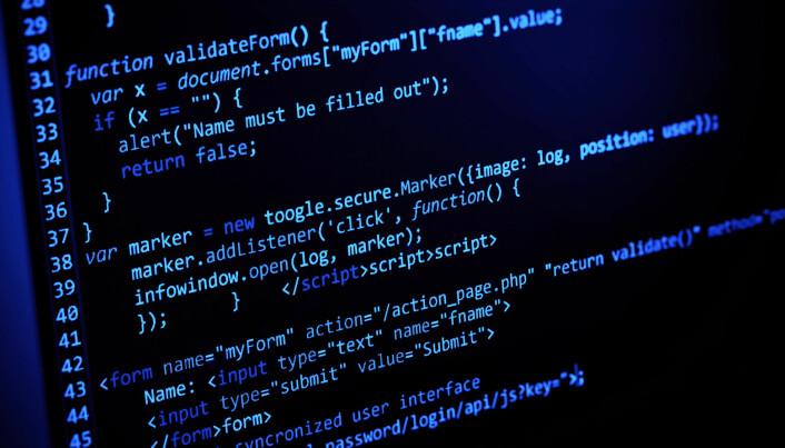 Mange tenker på roboter når vi snakker om kunstig intelligens, men oftest er det bare dataprogrammer. Menneskene som lager de smarte programmene skriver kode på datamaskinen, som kan se slik ut.