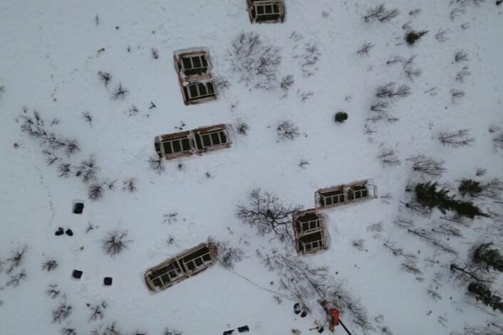 Feltene på Håkøya under simulert varmeperiode februar 2014. (Foto: Kjell-Sture Johansen, NORUT)