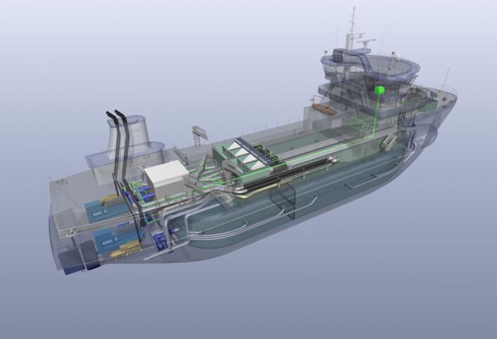 Det nyutviklede brønnbåtkonseptet er utstyrt med det siste av smittevernløsninger og er spesialdesignet for enklere renhold og mer miljøvennlig drift. (Foto: Sintef)