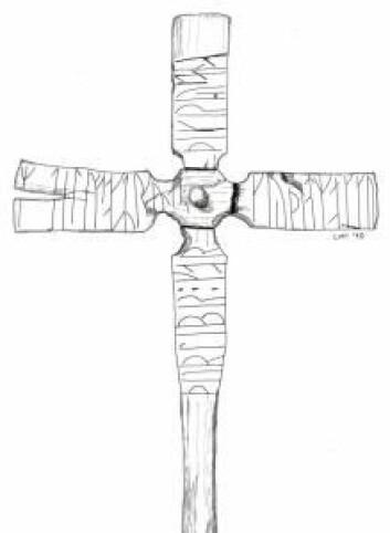 Trekors fra Herjolfsnes i Østerbygden på Grønland. Teksten lyder «Thorleif gjorde dette korset til å ære og tilbe den allmektige Gud.» (Foto: Nationalmuseet)