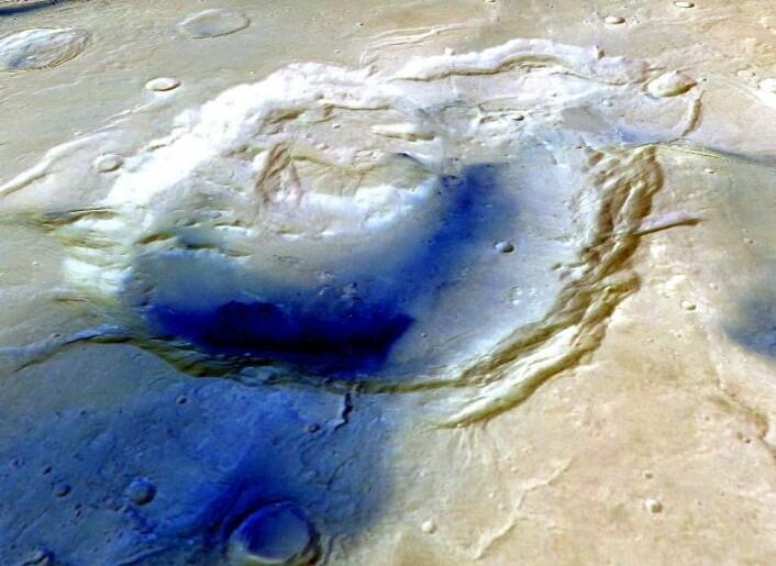 Tredimensjonal framstilling av Eden Patera. (Foto: ESA/Mars Express/Freie Universitat Berlin)