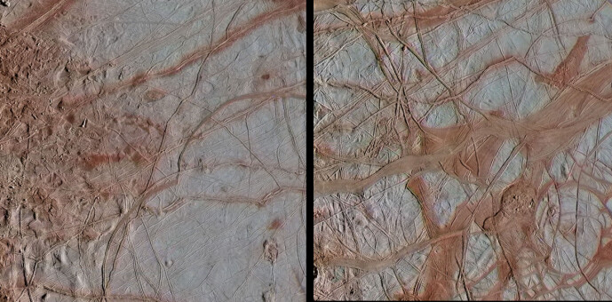 Europas overflate, hvor du kan se tydelige linjer i isen. Disse bildene stammer også fra Galileo-sonden, og er tatt i 1998.