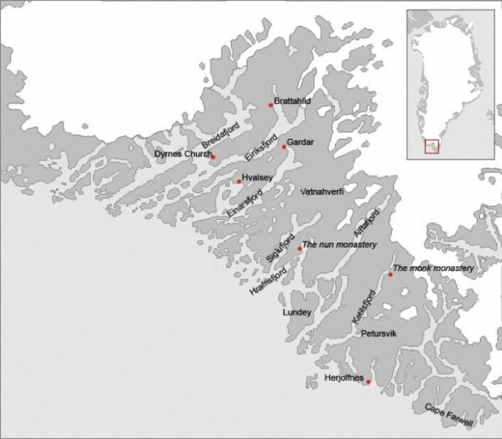 Kart over ruiner etter bosetningene i Austerbygd. Austerbygd holdt liv i Vesterbygd i flere tiår etter at den mindre bosetningen ble isolert av havis og et kaldere og mer voldsomt klima. (Foto: (Illustrasjon: Wikimedia Commons))