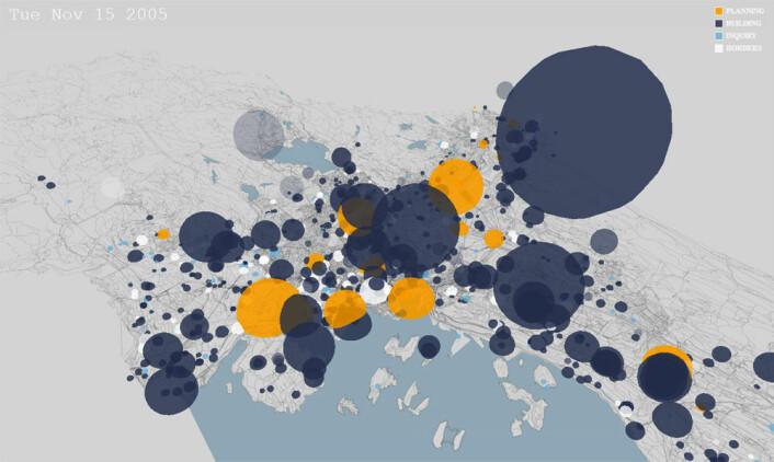 I nettapplikasjonen Planimator stiger større og mindre bobler opp fra steder i byen der saker fra Plan- og bygningsetaten i Oslo har blitt behandlet, ettersom datoene teller oppover i feltet øverst til venstre. Størrelsen på boblene viser hvor mye korrespondanse hver sak har generert. (Foto: (Bilde: www.bengler.no))