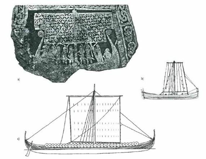 På denne bildesteinen fra Gotland ser vi et krigsskip fra 900-tallet, gjengitt med et kort, men bredt seil. Til sammenligning en rekonstruksjon av Skuldelev 2, også kalt «Havhingsten», med et kvadratisk seil. Til høyre i bildet en norsk seilbåt fra 1800-tallet. (Foto: Aarbøger for nordisk oldkyndighet og historie, Det kongelige nordiske oldskriftselskaben, København 2009)