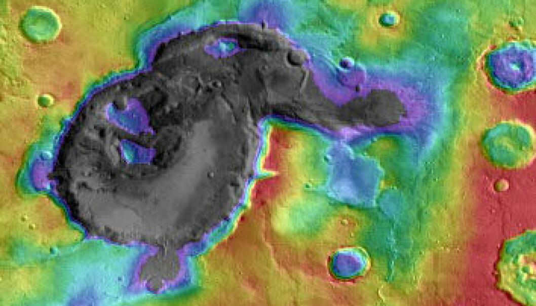 Høydedata og temperaturdata er lagt sammen over dette bildet av Eden Patera, det mest typiske eksemplet på rester etter supervulkaner på Mars. Kalderaen er omtrent 1800 meter dyp og 70 kilometer lang på det bredeste. NASA/JPL/GSFC/Arizona State University