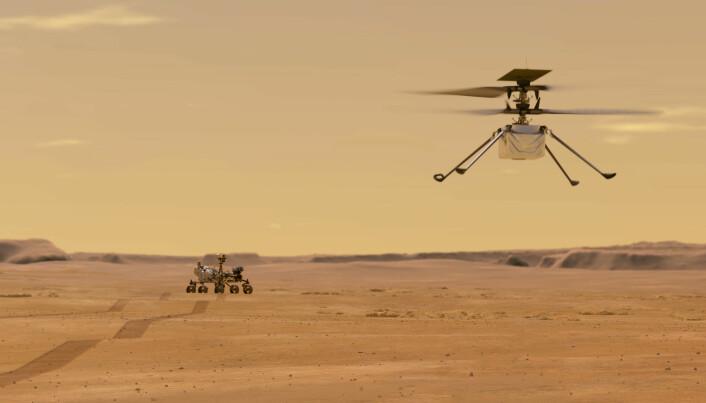 Ingenuity-helikopteret blir det første helikopteret i verdensrommet, ved spakene sitter Håvard Fjær Grip.