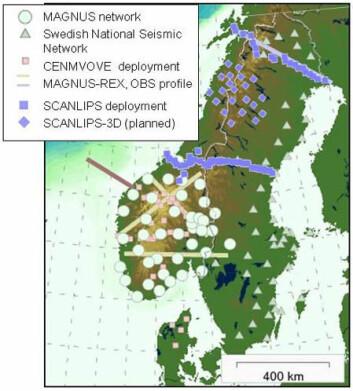 Figuren viser hvor det er gjennomført seismiske målinger i Sør- og Nord-Norge. Arbeidet fortsetter de to neste årene i samarbeid med en rekke europeiske universiteter og institusjoner. (Foto: (Ilustrasjon: NGU))