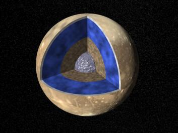 Under overflateisen består Ganymedes kanskje av myk is (blått), jern (grått) og en kjerne av stein innerst. (Foto: (Illustrasjon: NASA))