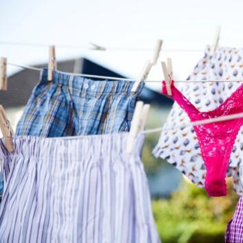 Tørkar du kleda på tørkesnor i staden for i trommel sparar du klimaet og lommeboka. (Foto: Colourbox)