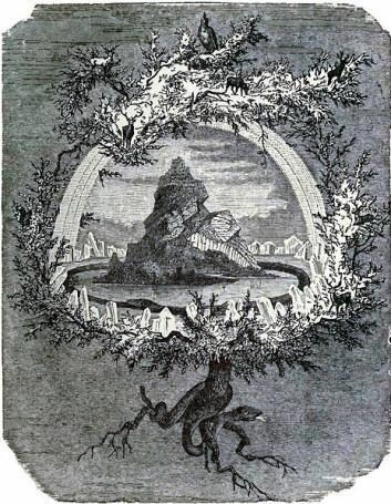 Yggdrasil, det gigantiske treet der alle de ni verdnene i den norrøne mytologien skulle finnes, tegnet av Friedrich Wilhelm Heine i 1886. (Foto: (Wikimedia Commons))