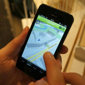 Streetscape-appen lar deg legge inn bilder og tekst i et 3D-kart, basert på kartløsningen OpenStreetMap. Byplanleggere skal kunne hente ut slike innlegg og bruke dem i arbeidet sitt. (Foto: Arnfinn Christensen, forskning.no.)