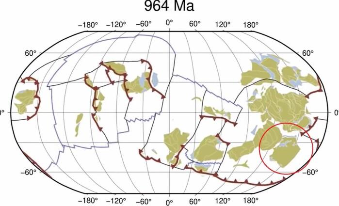 Ifølge forskernes animasjon lå Norge langt nede i sør for omtrent en milliard år siden.