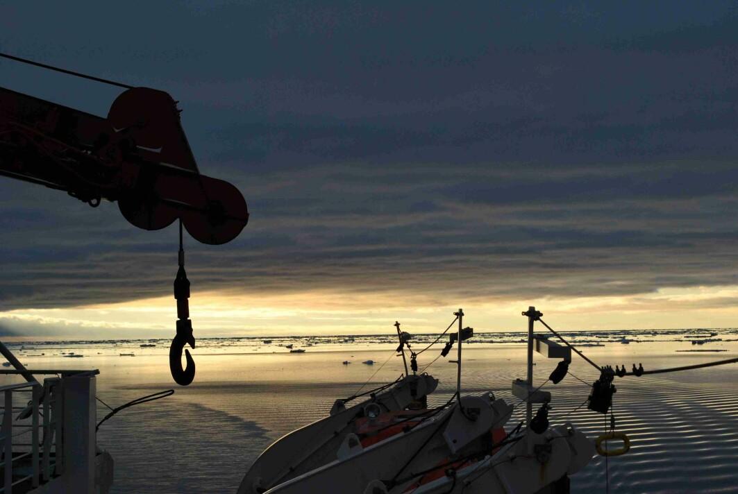 Morgenutsikt fra broen på forskningsskipet Polarstern.