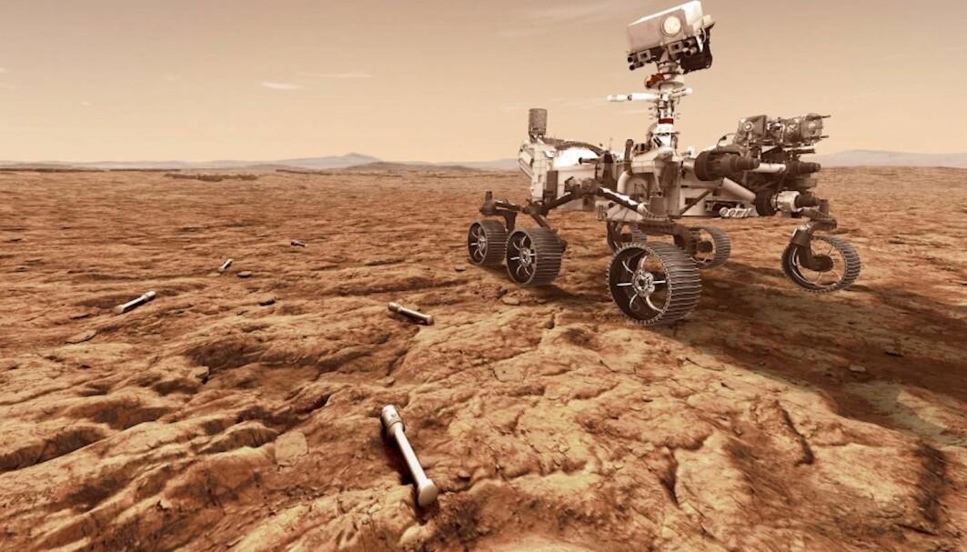 Slik ser NASA for seg at Perseverance-roveren skal legge igjen prøver av Mars-overflaten.