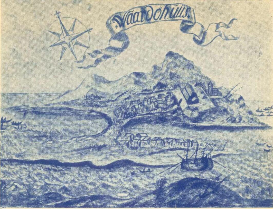 Illustrasjon av Vardø og Vardøhus frå 1698, henta frå amtmann Lilienskiolds verk «Speculum Boreale».