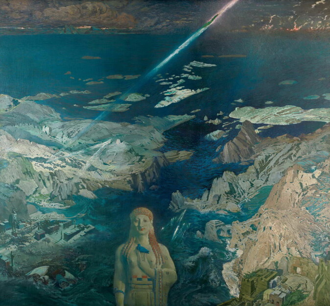 Måleriet «Terror Antiquus» (1908) av den russiske kunstnaren Léon Bakst visar Atlantis' undergang.