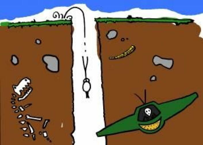 Når du faller opp av hullet på den andre siden av jorden, vil du henge stille i et kort øyeblikk – men hvis ikke noen står klar til å gripe fatt i deg, faller du tilbake igjen. Og slik kan man fortsette i all evighet. (Foto: (Illustrasjon: Kristian Secher, Videnskab.dk))