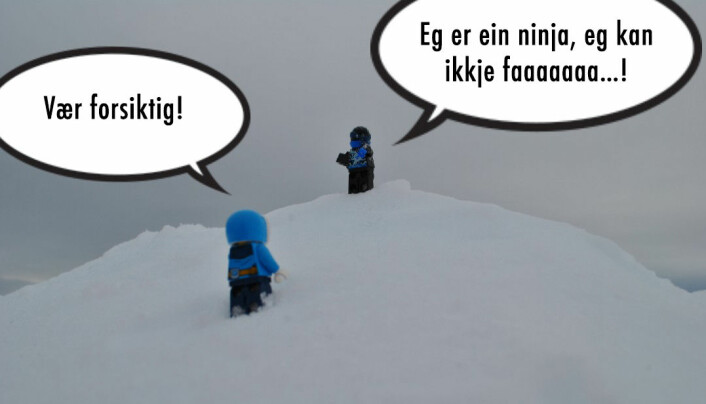Elin: Vær forsiktig! Ninja: Eg er ein ninja, eg kan ikkje faaaaaa…!