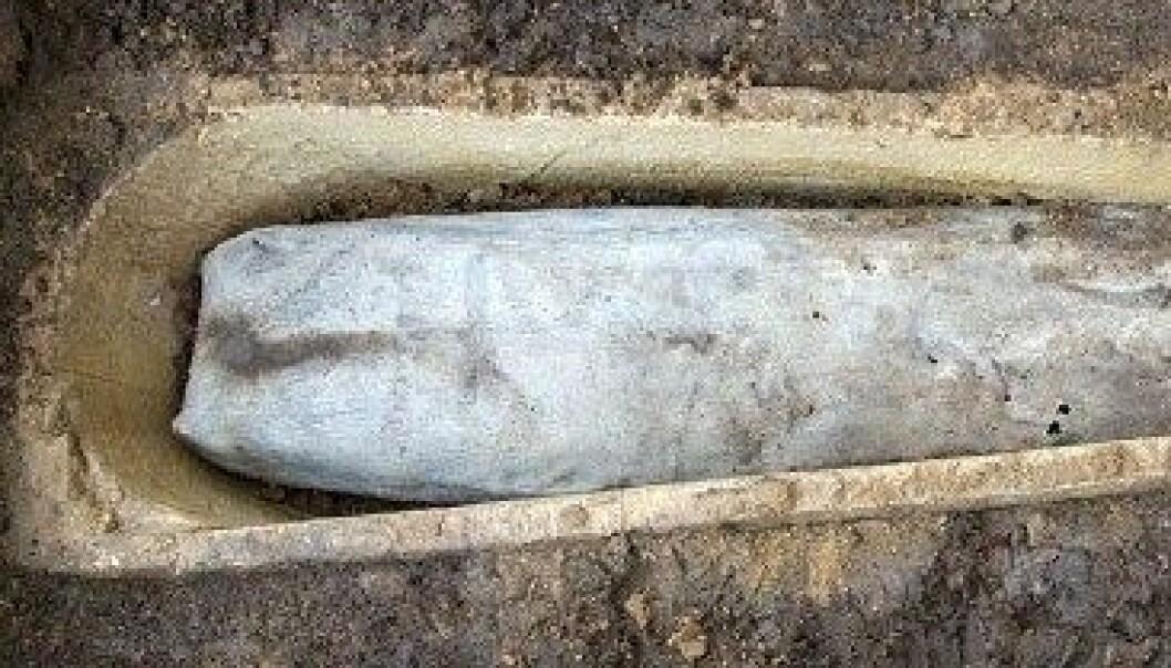 Lederen for arkeologigruppa hadde aldri før sett ei blykiste i ei steinkiste. University of Leicester