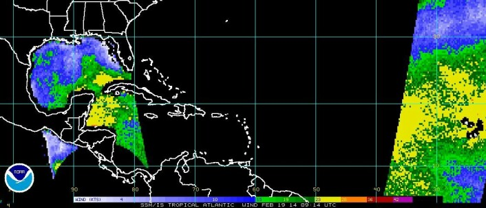 Satellittbilde i mikrobølgeområdet, som viser vind. (Foto: (Figur: U.S. National   Oceanic and Atmospheric Administration))