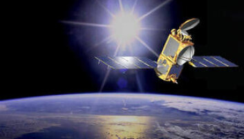 Satellitt i bane rundt jorda.