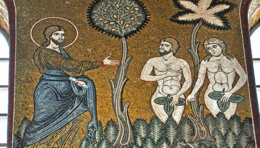 Gud sier «Adam, hvor er du? Og hvem har fortalt deg at du er naken?» Adam forsvarer seg overfor Gud ved å skylde på Eva. Her er scenen illustrert i en mosaikk i Monrealekatedralen på Sicilia.