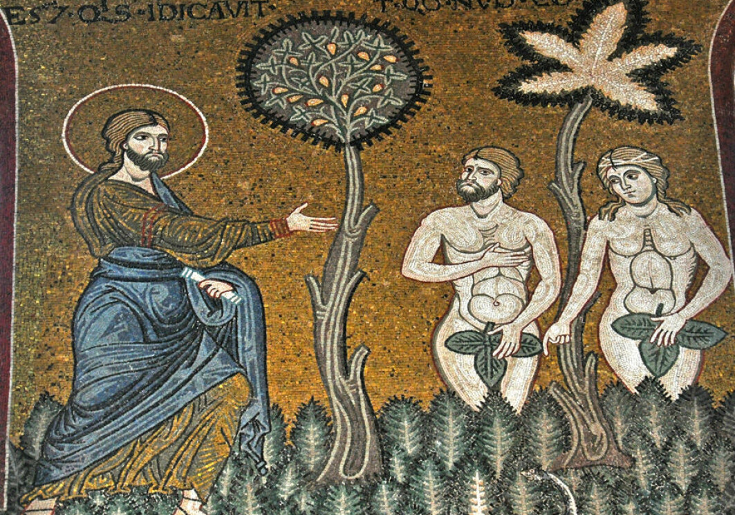 God calls to Adam: 'Adam, where are you? Who told you that you were naked?'. Adam defends himself by blaming Eve. The scene is illustrated on this mosaic from the Monreale Cathedral on Sicily.
